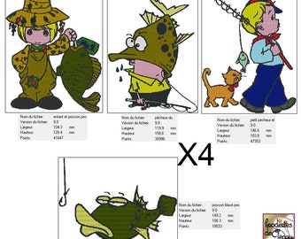 Embroidery file format: set of 4 fishing theme