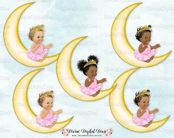 Ballerina Baby Sitting on Crescent Moon Pink Tutu Pearls | Vintage Baby Girl | 3 Skin Tones | Clipart Instant Download