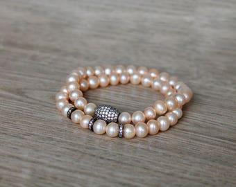 Pearl Bracelet - Peach - Bridal Bracelet - Stretchable