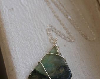 Silver Jadeite Necklace, Sterling Jadeite Pendant Necklace, Large Green Necklace Pendant, Statement Necklace, Large Crystal Healing Pendant
