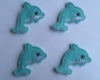 Blue Dolphin Ocean Animals Embroidered Felt Applique