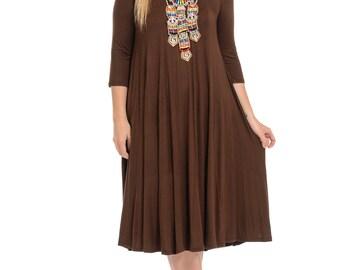 A-Line Trapeze Midi Dress Plus Size Brown