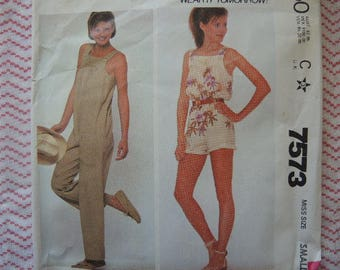 vintage 1980s simplicity sewing pattern 7573 misses jumpsuit in two lengths size small 10-12
