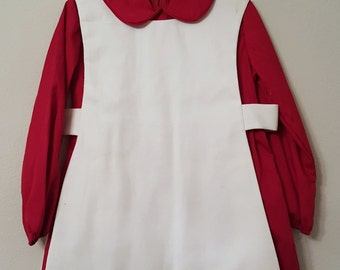 Vintage Girls Char-lena Dress in Burgundy Red with White Apron Pinafore- Size 5- New, never worn