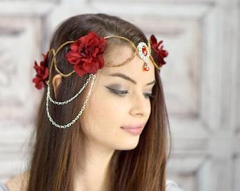 Couronne elfique, argent et rouge, coiffe elfique, couronne de fée, Costume de coiffe, coiffe, fleur couronne, Couronne florale, Woodland
