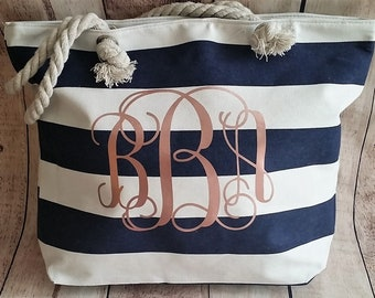 Rose Gold Monogrammed Beach Bag, Navy and Rose Gold Bag, Bridal Gift, Bridesmaid Gift, Monogram Tote, Rose Gold Wedding, Personalized Tote