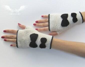 Fingerless Gloves / Crochet Gloves / Wrist Warmers / Knit Fingerless gloves / Retro knit glove mittens / Wool fingerless gloves / Vintage