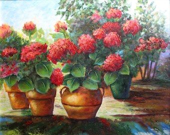 RED GERANIUMS, an original acrylic floral painting