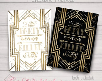 PRINTABLE - Poster, Gatsby, Roaring 20's, Black, Gold, White, A little Party, Instant Download