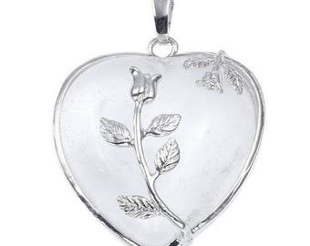 Floral silver plated - Crystal heart pendant