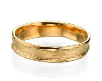 Beautiful 5mm Rugged Center Rose Gold Men Wedding Band, Simple Wedding Ring, Gold Band, Wedding Band For Men, Custom Made Jewelry