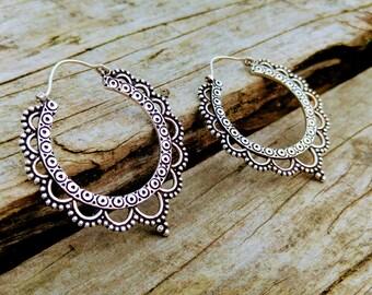 Silver ethnic style hoops, Tribal hoop earrings, Boho earrings. Silver Tribal earring. Indian earrings.
