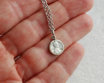 Tiny Silver Penny Charm Necklace, coin jewelry, lucky penny necklace, penny pendant, little penny charm, gift for her