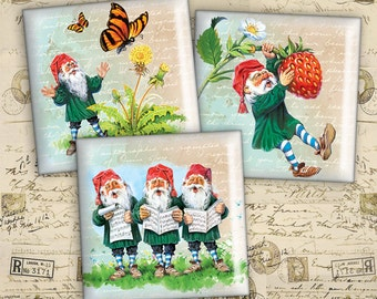 2 inch Squares - Digital Collage Sheet - Instant Download - Vintage Gnomes - Best for scrapbooking, stickers, paper craft - GNOMES 2INC