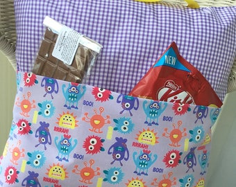 Little monsters Pocket Pillow - great for the nursery and holding picture/reading book or kindle.
