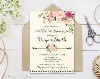 Bridal Shower Invitation, Floral Bridal Shower Invitation, Boho Bridal Shower Invite, Bridal Shower Printable, W100-B