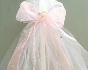 Greek Orthodox Baptism Candle Lambada Christening Pink & White Girl