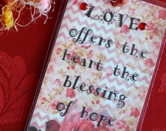 VALENTINE LOVE TAG altered art journal bookmark scrapbook collage recovery survivor healing journey therapy