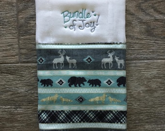 Baby Woodland Burp Cloth, Bear/Deer, Personalized, Embroidered Gift
