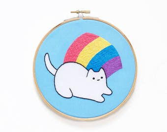Rainbow Baby Cat - Hoop Art Kit - Limited Edition Sparkle Collective Collaboration