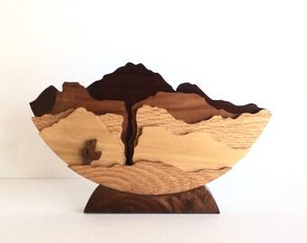 Mid Century Southwest Art, 1960's Layered Wood Table Top Art, Desert SW 3D Wood Art, Rare 1960s Modernistic  Wooden Desert Art, MCM Home