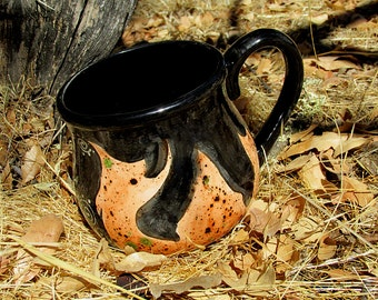 Flames mug or cauldron mug kiln fired pottery ceramic mug coffee tea brew orange black magic magick brew witches brew rustic earthy nature