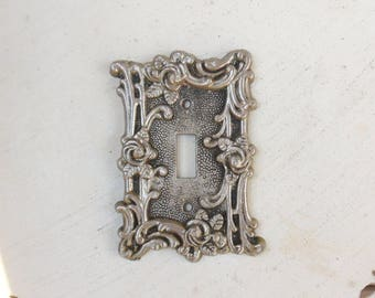 Silver Switch Plate Cover with Roses, American Tack & Howe Co Metal Light Switch Cover 60s