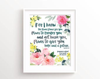 Personalized Confirmation Gift, Ordination Gift, Jeremiah 29 11, For I Know The Plans I Have For You, Bible Quote Art, Biblical Wall Art