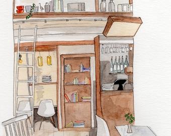 Watercolor Café Illustration Williamsburg Brooklyn NY