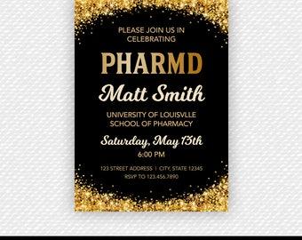 Gold Glitter PharmD Invite - Pharmacy Grad - Pharm D Invite - Customized Pharmacist Printable Graduation Party Invite