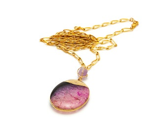 Pink and Black Agate Pendant Necklace