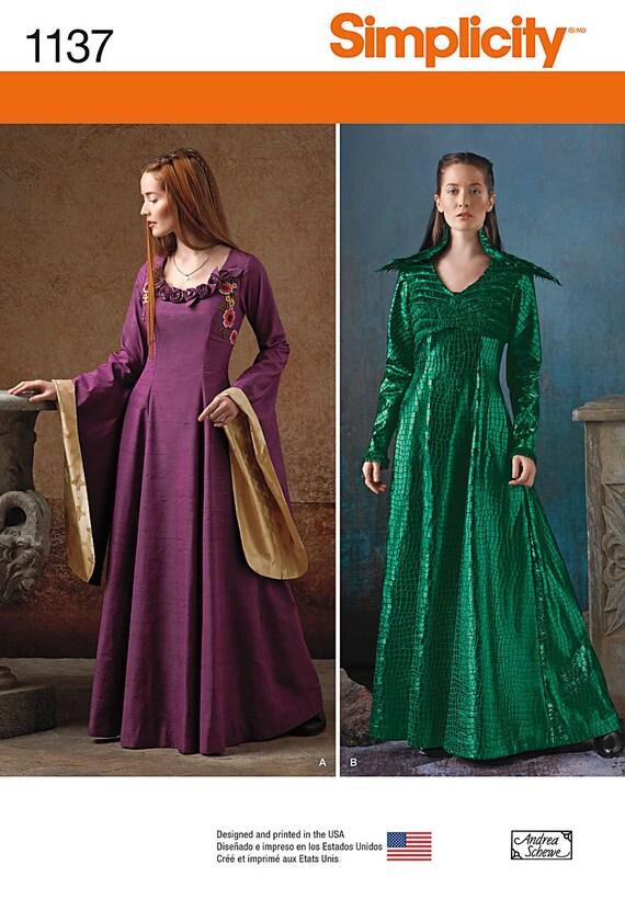 OOP Medieval Fantasy Dress Sewing Pattern, Simplicity 1137 Sewing ...