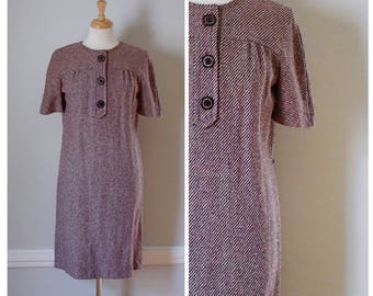 Vintage Dress / 60s Dress / Vintage 60s Dress / Wool Dress / Tweed Dress / Shift Dress / 60s Day Dress / Red and White / Small to Medium