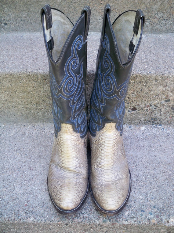 Tone Western Pull 9 Size Vintage Leather Men's Boots amp; On Cowboy 2 Snakeskin UgnqH