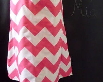Sample SALE - Will fit Size M/L - Ready to MAIL - A-line SKIRT - Riley Blake - Pink and White Chevron - by Boutique Mia