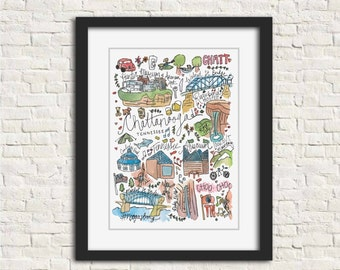 Chattanooga, Tennessee Illustration Art Print // 8x10 and 11x14