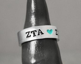 Zeta Tau Alpha Ring, Sorority Ring, Zeta Tau Alpha Jewelry, Hand Stamped Ring, Personal Sorority