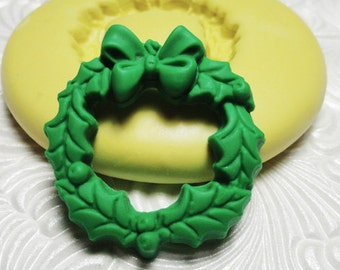 HOLIDAY WREATH Flexible Silicone Rubber Push Mold for Resin Wax Fondant Polymer Clay Ice 373