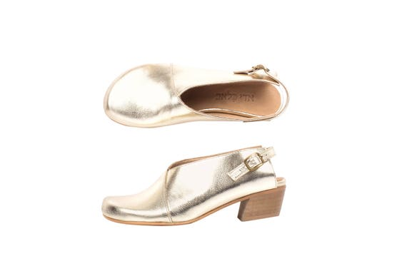 Handmade close shoes shipping womens toe Sandals heel Slingback ADIKILAV shoes leather Gold free wide low Y4Pqx