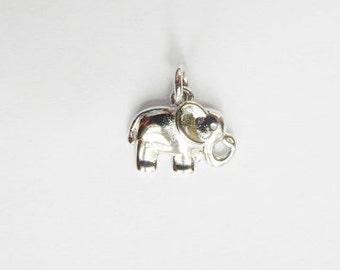 Rhodium Sterling silver,elephant  charm , elephant  pendant (11x14mm)
