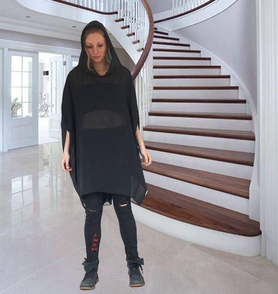 Oversized Black Shiffon Dress Tunic, Short Abaya Dress Top, Caftan Tunic, Asymmetric Extravagant Hoodie, Hooded Extra Loose Dress Tunic