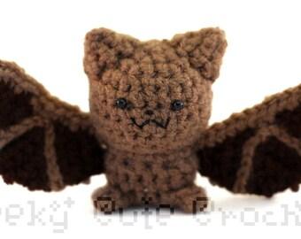 Little Brown Bat Amigurumi Crocheted Plush Toy Stuffed Animal