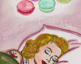 Original Watercolour Painting Print - Laduree Macarons Sweet Dreams