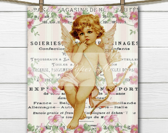 Digital Shabby Victorian Valentine Cherub, Angel, Vintage Flowers, French Pillow Graphic Transfer Image