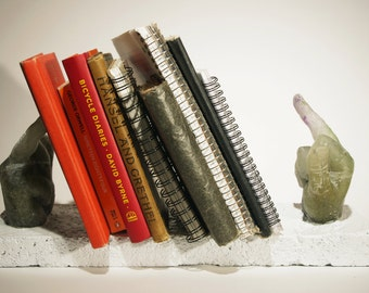 Cast Glass and Concrete Bookends