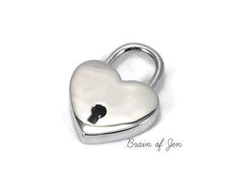 STERLING SILVER Working Heart Shaped Padlock with Keys