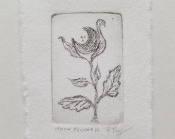 Moon Flower Tiny Dry Point Copper Etching Print FREE SHIPPING