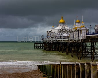 Eastbourne Seaside print on canvas, dramatic sky and sea, pier, clouds, digital art, giclee, photographic print, canvas, travel, wall decor