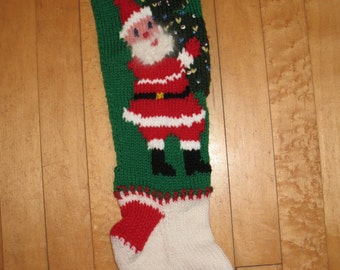 Vintage Hand Knit Christmas Stocking with Santa carrying a Decorated Tree/NOW TAKING ORDERS for 2018