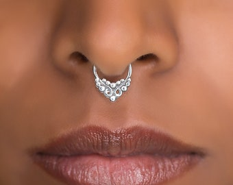 Tiny Fake Silver Septum Ring  For Non Pierced Nose